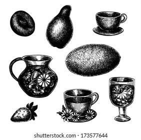 Vector hand drawn food set