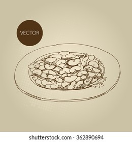 Vector hand drawn food sketch lunch garnish bean, haricot.