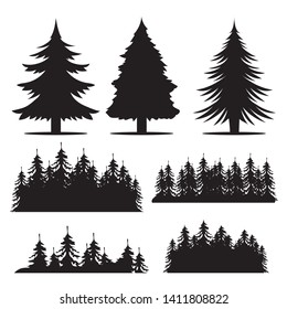 Vector hand drawn forest trees silhouette, vector illustration set isolated on white background