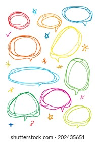Vector hand drawn frames and bubbles collection - color can be changed by one click