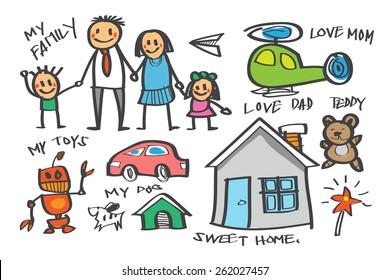 Vector Hand Drawn, Free Hand about My Family in Children Imagine on Isolated Background.