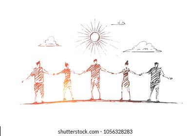 Vector hand drawn friendship concept sketch. Five friends standing under the Sun and holding each others hands.