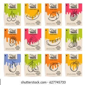 Vector hand drawn fruits posters. Vintage style healthy food concept for farmers market menu design