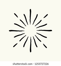 Vector hand drawn geometric radial line sunburst, the rays of the sun or the stars Shine, flash. Fireworks retro, vintage style.