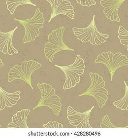 Vector hand drawn ginkgo seamless pattern. Alternative medicine background.