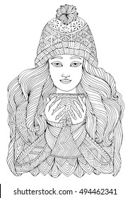 Vector hand drawn girl in a warm sweater and knit hat holding a cup of tea. Coloring book for adults autumn winter season. Pattern coloring page A4 size.