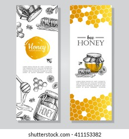 Vector hand drawn gold honey banners. Detailed  engraved  illustrations.Graphic  honeycomb, bee, pod, flowers. Great banner, poster, flyer for  business promote.