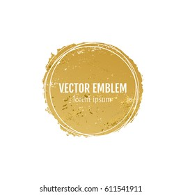 Vector hand drawn gold shape for brand identity and logo design isolated on background and easy to use. Brush and inc design elements with grunge texture.