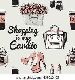 Vector hand drawn graphic fashion illustration coffee cup, shopping is my cardio lettering, pink nude heels, lady bag, white smartphone, couple lipstick, french perfume, flowers bag. Seamless pattern.