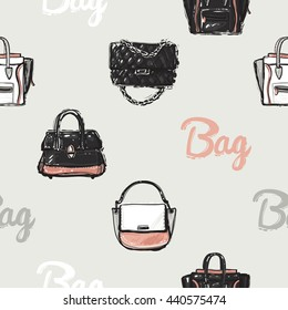 Vector hand drawn graphic fashion illustration bag lettering, ladies handbag, brand fashionable clutch. Trend graphic glamour fashion sketch seamless pattern in vogue style.