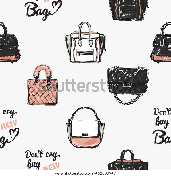 17058897711 Vector hand drawn graphic fashion illustration fashionable clutch, leather  handbag, do not cry buy