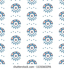 Vector hand drawn greek evil eyes signs seamless repeat pattern. Ethnic fabric background, modern textile print, clothes, wallpaper, wrapping paper. Bohemian fashion. Trendy surface design.