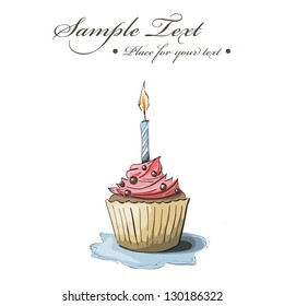 Vector hand drawn greeting card with cupcake