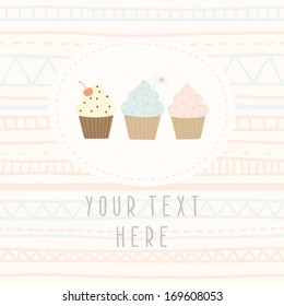 Vector hand drawn greeting card with cupcakes