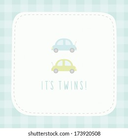 Vector hand drawn greeting card It's twins