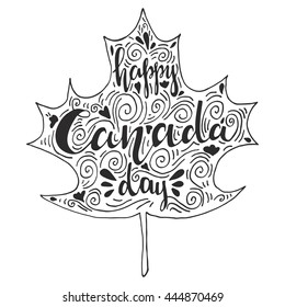 "Vector hand drawn greeting card ""Happy Canada day"". Great lettering print for card,poster,banner"