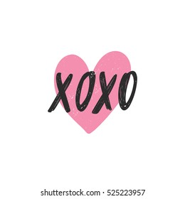 Vector hand drawn greeting card - XOXO. Hugs and kisses. Black calligraphy isolated on white background with pink heart. Hand lettering illustration. Valentine's Day design
