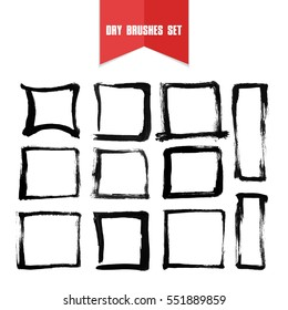 Vector hand drawn grunge dry brush line rectangles. Clip art set for your design.