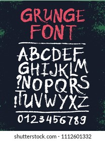 Vector hand drawn grunge font.