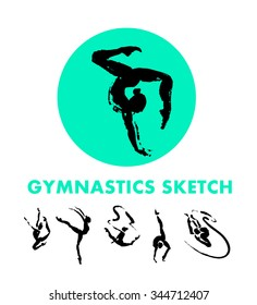 Vector hand drawn gymnastic sketch isolated on white backdrop. Ink drawing. Sportsman acrobat, dancer, gymnast silhouette illustration. Sport logo, magazine article design, poster,  advertising.