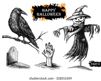 Vector hand drawn Halloween set. Vintage illustration. Great for party invitation cards and other decor