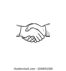 Vector hand drawn of handshake outline doodle icon. Handshake concept of business team, cooperation and deal sketch illustration for print, web, mobile and infographics isolated on white background.
