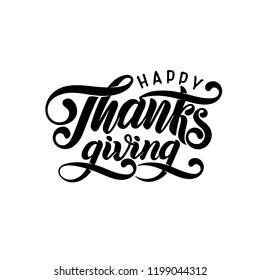 Vector Hand drawn Happy Thanksgiving typography poster. Celebration quote for greeting card. Vector hand written autumn calligraphy. Lettering text Thanksgiving, fallen leaves in circle shape, frame