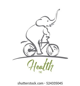 Vector hand drawn health time concept sketch. Elephant riding bicycle. Lettering Health time