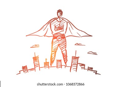 Vector hand drawn hero man concept sketch with pencil over it. Superhero man in traditional costume over big city