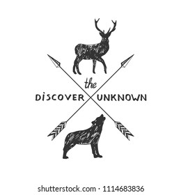Vector hand drawn hipster vintage sign with deer and wolf silhouettes, crossed arrows. Discover the unknown.
