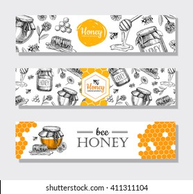 Vector hand drawn honey banners. Detailed engraved  illustrations.Graphic honeycomb, bee, pod, flowers. Great banner, poster, flyer for business promote.