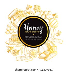 Vector hand drawn honey frame. Detailed gold engraved illustrations. Graphic honeycomb, bee, glass jar, flowers, pot. Great for label, banner, poster, card.