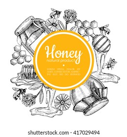 Vector hand drawn honey frame. Detailed yellow engraved illustrations. Graphic honeycomb, bee, glass jar, flowers, pot. Great for label, banner, poster, card.