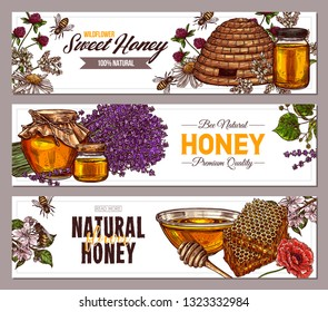 Vector hand drawn honey vertical banners with wild flowers. Design templates with color sketch illustrations of plants, hives, honeycomb, jars, pots for for beekeeping and apiculture