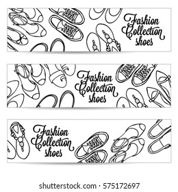 Vector hand drawn horizontal banners set with female shoes. Spring-summer fashion collection. Sketch black and white background for shoes shop.