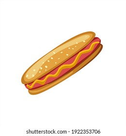 Vector hand drawn hotdog. Fast food and unhealthy food isolated on white background. Sausage bun icon for restaurant menu