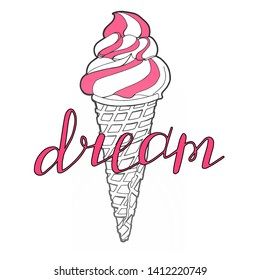 Vector hand drawn ice cream with pink cream in a waffle cone isolated on white background. Black and white. Summer linear design with lettering. Sweet dream