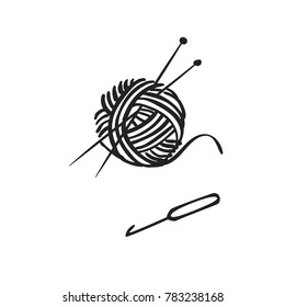Vector hand drawn icon of knitting with ball of yarn, needles knitting and crochet isolated on white background