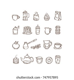 Vector hand drawn icon set coffee and tea