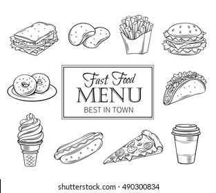 Vector hand drawn icons fast food. Illustration with snacks, hamburger, fries, hot dog, tacos, coffee, sandwich, ice cream in old ink style.