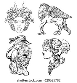 Vector hand drawn illustration of antique mythological beasts.  Template for card, poster, banner, print for t-shirt,coloring books.