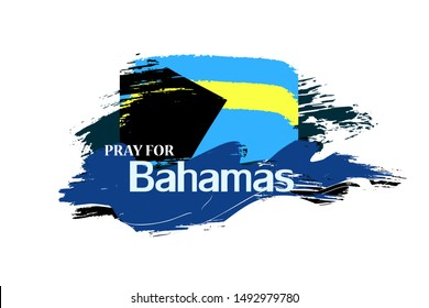 """Vector hand drawn illustration """"Pray for Bahamas"""" with blue water waves and country flag for blog posts, banners, articles. Isolated on white."""