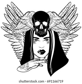 Vector hand drawn illustration of beautiful woman with hand, human skull and wings.  Tattoo artwork with portrait in Noir style. Template for card, poster, banner, print for t-shirt.