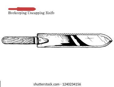 Vector hand drawn illustration of Beekeeping uncapping knife in vintage engraved style. Isolated on white background.