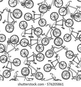 Vector hand drawn illustration with bicycle. Seamless bicycles pattern. Sport print design