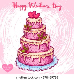 Vector hand drawn illustration of big cake on the background with paper texture. Wedding cake with hearts and flowers, sketch. Linear art in vintage style for design.
