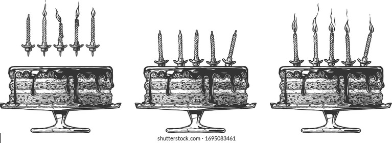 Vector hand drawn illustration of Birthday Cake with different candles with and without fire in vintage engraved style. Isolated on white background.