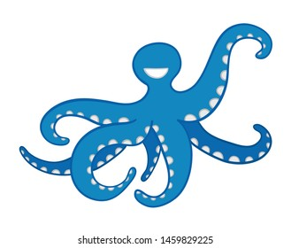 Vector hand drawn illustration of blue octopus. Colored outlines and colored.