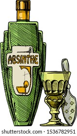 Vector hand drawn illustration of bottle of Absinthe with absinthiana in ink hand drawn style.