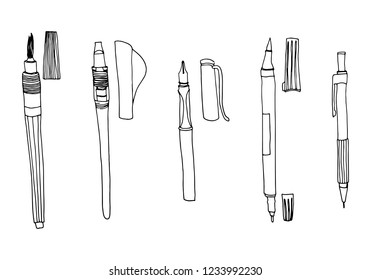 Vector hand drawn illustration of calligraphy tools. Various types of pen